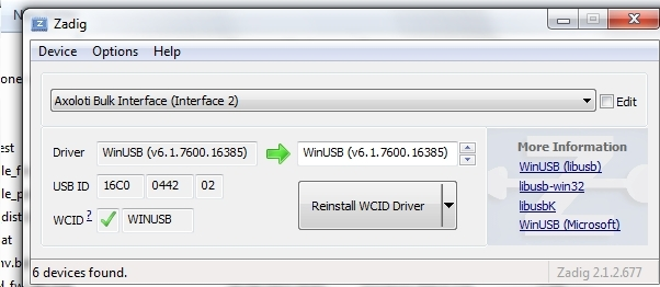 Win 7 no usb found with matching PID/VID - Helpdesk - Axoloti Community